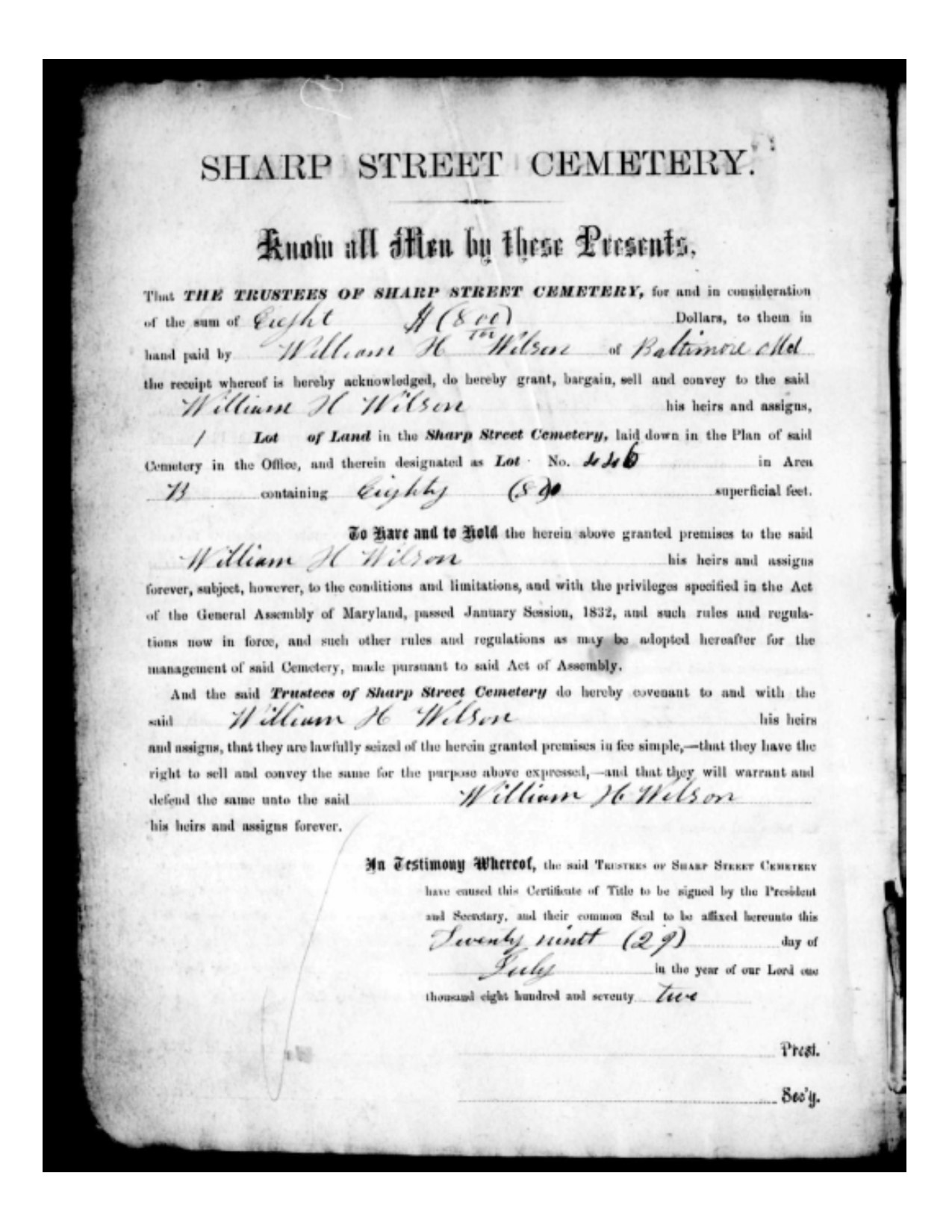 William H. Wilson Cemetery Deed-purchased July 29, 1872 -lot B, number 446