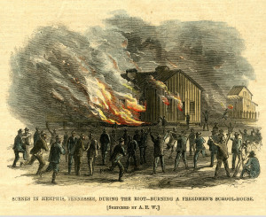 Events such as the Memphis Riot of 1866 demonstrated that those freed from slavery required the full protections of citizenship, which only the federal government could provide (image courtesy Wikipedia)