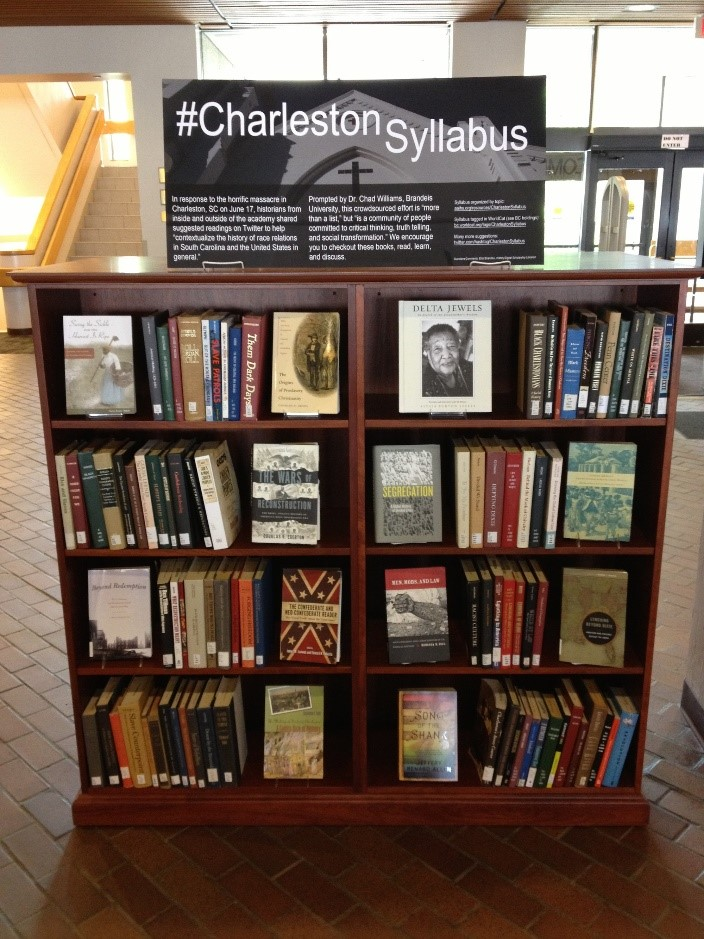 Display at Boston College's O'Neill Library (courtesy of Elliot Brandow)