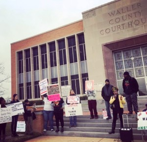 Waller County Courthouse Protest, January 6, 2016. Jinaki Muhammad of the National Black United Front, Houston Chapter, speaks. Image courtesy of Rev. Hannah Bonner.